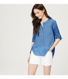 Meet the softened shirt – a light and airy button-down, with no detail left unbuttoned. Cut collarless, this airy cotton piece is easy breezy. Long sleeves with button cuffs. Henley button placket. Back yoke with pleat beneath. Shirttail hem.