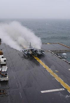 Atlantic Ocean (Nov. 7, 2006) -- An AV-8B Harrier assigned to Marine Medium Helicopter Squadron Two Six Four (HMM-264) launches from the flight deck of the amphibious assault ship USS Bataan (LHD 5). U.S. Navy photo by Mass Communication Specialist 3rd Class Jeremy L. Grisham (RELEASED)