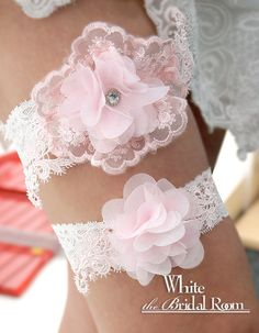 Pink & Clear Crystal Flower with White Lace Bridal Garter, Wedding Garter Set, Flower Bridal Garter Belt, Crystal Bride Garter #handmade