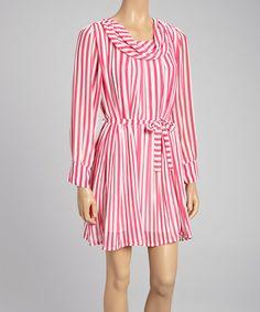 Another great find on #zulily! Pink & White Stripe Cowl Neck Dress #zulilyfinds