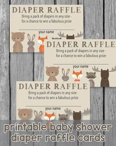 Printable Baby Shower Diaper Raffle Tickets - Woodland Animals Theme Baby Shower Prizes, Baby Shower Niño, Shower Bebe, Baby Shower Diapers, Baby Shower Games, Shower Party, Diaper Shower, Shower Gifts, Animal Theme Baby Shower