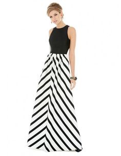 Be beautifully bold in the brilliant black and white stripe Alfred Sung D707P bridesmaid dress. This striking, sleeveless full-length gown is stylish in sateen twill. The bodice showcases a jewel neckline and a sleek keyhole feature at the back. The pleated skirt boasts side seam pockets and creates a classic A-line silhouette.