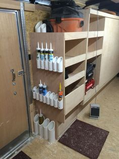 Some caulk and large glue tube storage