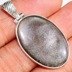 Silver-Sheen-Obsidian-925-Sterling-Silver-Pendant-Jewelry-SP180344