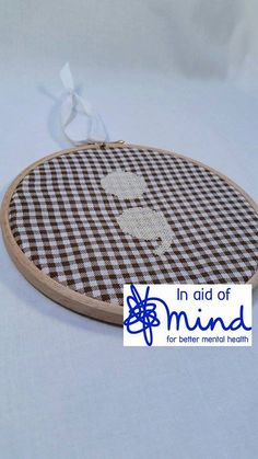 """Cream and Brown Semicolon Embroidery 6"""" hanging mental health charity awareness gift"""
