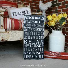 Porch Rules Sign The Original Typography por barnowlprimitives