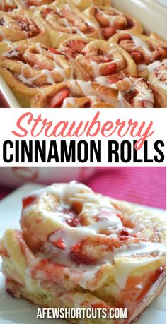 Sweet, sticky, and AMAZING! You have to try this simple Strawberry Cinnamon Rolls Recipe! Everyone will ask for it! Great for breakfast, dessert, or just because!