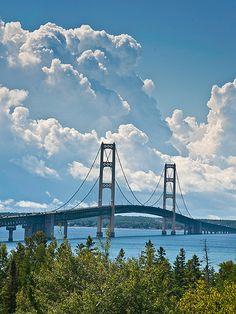 Mackinac Bridge (The longest suspension bridge in the western hemisphere. The total length of it is 26,372 feet.), Michigan, USA.