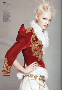 Sasha Pivovarova (model) in Alexander McQueen - David Sims (photographer) May 2011 issue of Vogue