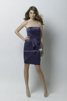 WTOO 268 Amethyst crystal satin strapless above-the-knee length dress with cascading drapes over a slim pencil skirt. Dark Purple Bridesmaid Dresses, Classic Bridesmaids Dresses, Cheap Bridesmaid Dresses Online, Bridesmaid Dress Styles, Bridesmaid Outfit, Prom Dresses, Cheap Wedding Dress, Brie, Strapless Dress Formal