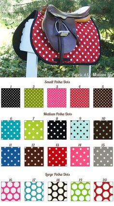 MADE TO ORDER Polka Dot Saddle Pad Many Colors by PaddedPonies, $68.00