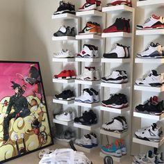Wtc Bape x Dragonball poster Shoe Room, Shoe Wall, Room Closet, Jordans Retro, Air Jordans, Sneaker Storage, Shoe Storage, Shoe Racks, Storage Ideas