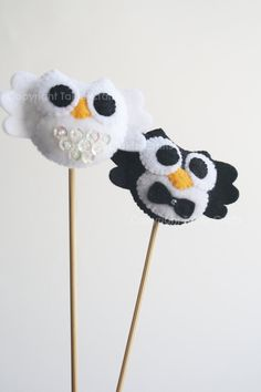 Felt Owl Couple Wedding Cake Topper. $10,00, via Etsy.
