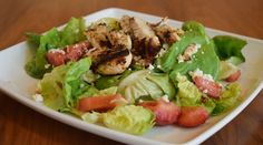 Grilled Chicken Salad, fresh strawberries, Bibb lettuce, toasted pecans, crumbled feta and strawberry vinaigrette  // Print Works Bistro // Proximity Hotel // Greensboro NC