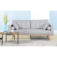 Mid-Century Modern Tufted Linen Fabric Sofa | Overstock.com Shopping - The Best Deals on Sofas & Loveseats
