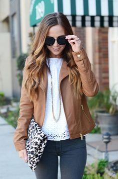 Merrick's Art // brown cognac leather jacket, leopard print clutch handbag, white lace shirt,  long necklace, gray jeans, sunglasses, gold details