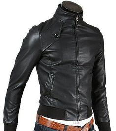 Men Slim Fit Biker Motorcycle Lambskin Leather Jacket Coat Outwear Jackets T1280