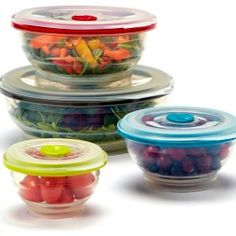 Collapsible Silicone Food Storage Containers  sc 1 st  Pinterest & Fasmov Silicone Collapsible Storage Bowls with Lids-Set of 3 ...