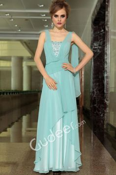 Light Blue Beaded Chiffon Floor Length Evening Dress with Asymmetrical Ruffled Skirt