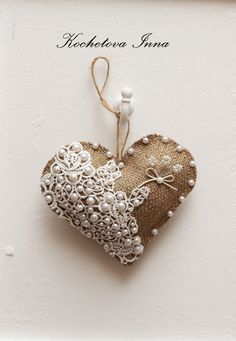Burlap lace heart ornaments Home decor ornaments by ByKochetova Burlap Ornaments, Fabric Ornaments, Burlap Crafts, Valentine Decorations, Valentine Crafts, Valentines, Hobbies And Crafts, Diy Crafts To Sell, Tie Dye Crafts