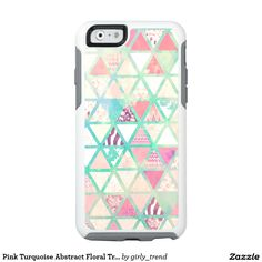 Pink Turquoise Abstract Floral Triangles pattern OtterBox iPhone 6/6s Case