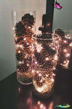 Weihnachtenideenz Weihnachtsschmuck mit Tannenzapfen - Bastelideen zum Selbermachen - Tannenzapfen ... #b ...   - Diyweihnachtsgeschenk #Weihnachten #Weihnachten basteln #Weihnachten geschenke<br> Diy Christmas Decorations Easy, Christmas Table Settings, Holiday Decor, Craft Decorations, Seasonal Decor, Diy Decoration, Flower Decoration, Winter Wedding Centerpieces, Christmas Centerpieces