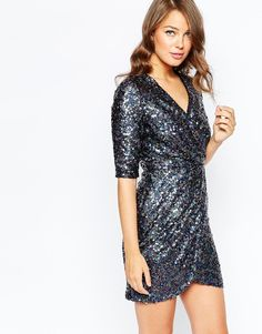 French Conection Lunar Sparkle Wrap Dress