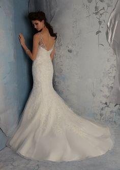 Bridal Dress From Blu By Mori Lee Style 5166 Delicately Beaded Venice Appliques On Net With Taffeta Cummerbund (back)