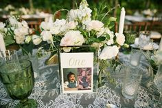 Such a fun wedding table idea- place photo of the bride and groom at the age coinciding with the table number! Anna Kim Photography