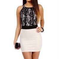 Black/Taupe Lace Color Block Dress