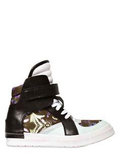 CINZIA ARAIA SATIN AND LEATHER HIGH TOP SNEAKERS. #cinziaaraia #shoes #