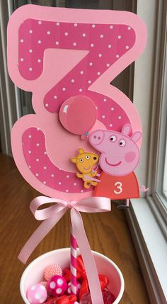 NEW Peppa Pig Centerpiece with Age and Balloon Choice by mlf465