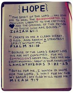 Isaiah 61:1, Psalm 91:10, Lamentations 3:22-23, Micah 7:7