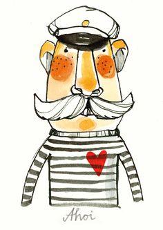 Fun bold illustration style · Sailor by Ekaterina Koroleva Art And Illustration, Illustrations Posters, Illustration Children, 3d Character, Grafik Design, Oeuvre D'art, Illustrators, Doodles, Artsy
