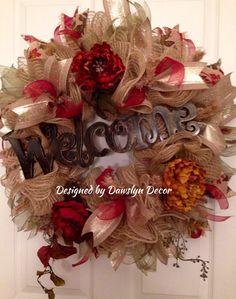 Fall Deco Mesh Ruffle Wreath by Dawslyn Decor on Facebook & Etsy