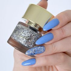 Cult & Smith 'Glass Souls' over 'Exit The Void'. Cornflower blue nail varnish Lo… Cult & Smith 'Glass Souls' over 'Exit The Void'. Green Nails, Blue Nails, My Nails, Prom Nails, Wedding Nails, Long Nail Art, Long Nails, Nail Art Designs, Long Almond Nails