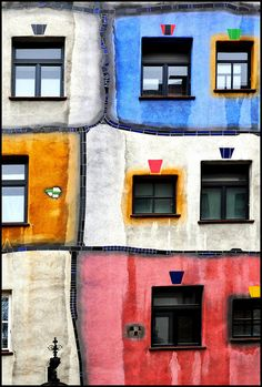 Inspired: ASCP Emperor's Silk, Old White, Arles, Graphite, Aubusson Blue, Duck Egg Blue, Barcelona Orange... WOW! Hundertwasserhaus - Vienna, Austria