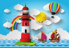 Sailing boat with marine cartoon vectors 01