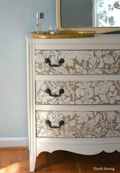How to Paint a Dresser - Thirft Store Furniture makeover - Use Furniture Stencils for Painted Furniture DIY Projects - French Floral Damask Stencils by Royal Design Studio(Diy Furniture Baby) Diy Furniture Projects, Furniture Makeover, Home Furniture, Furniture Design, Diy Projects, Furniture Stencil, Cheap Furniture, Furniture Stores, Stencil Dresser