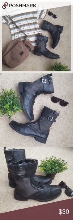 Men's H&M Boots!!! Black combat boots from H&M. Worn a handful of times, but in good condition. Some wear and tear, but adds to the rugged look of the boots. Comes from a smoke-free pet-free home. Fast shipping! NO TRADES! H&M Shoes Boots