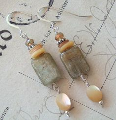 Staying Nuetral / Kyanite, Mother of Pearl, Crystals, Sterling