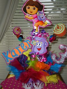 Dora  birthday party Centerpiece by partylycyous on Etsy, $19.99