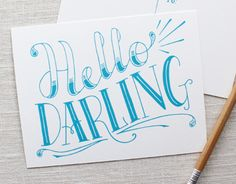 Postcard design that I hand-lettered and screen printed.