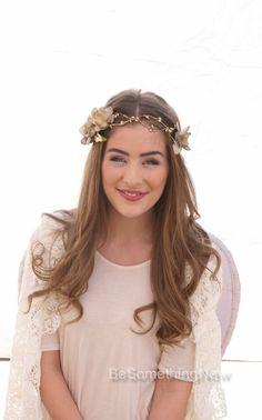 Gold Wedding Woodland Flower Headband with Gold by BeSomethingNew