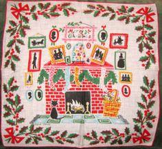 Sharon's Antiques Vintage Fabrics - Vintage Christmas Hankies and Fabrics