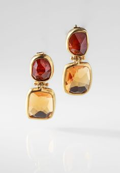 Margoni | Mandarin Garnet & Citrine Double Drop Earrings