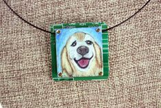 """Golden Retriever Hand-Illustrated Pendant – """"Goldie"""" - This dog's smile is the mark of the breed. Sweet, loving and endlessly happy, you'll love this unique colored pencil illustration on copper, mounted on circuit board."""