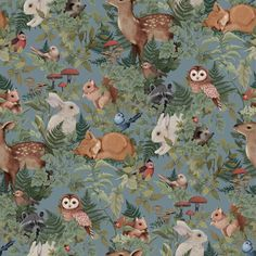 Wallpaper Woodlands Dusty and charming describe the myriad of animals in our Fleur Harris collaborative wallpaper. Digitally hand painted €˜Woodlands€™ is a unique work of art featuring bunnies, deer, foxes and birds woven amongst an Tier Wallpaper, Wallpaper Samples, Home Wallpaper, Animal Wallpaper, Pattern Wallpaper, Wallpaper Paste, Wallpaper Ideas, Cricket Wallpapers, Blue Wallpapers