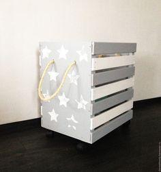 """toy box/ Купить Ящик для игрушек """"Звездный"""" - серый, белый, звезды, звездочки, ящик, Деревянный ящик"""