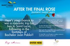 Here's your chance to win a romantic trip for two to Saint Lucia, following in the footsteps of Bachelor Juan Pablo! Like Saint Lucia on Facebook and follow Saint Lucia on Pinterest. Sign-up for the sweepstakes by providing your First Name, Last Name and Email. Pin at least three of the contest entry images. On April 8th, we will select a random winner to receive this romantic trip for two!